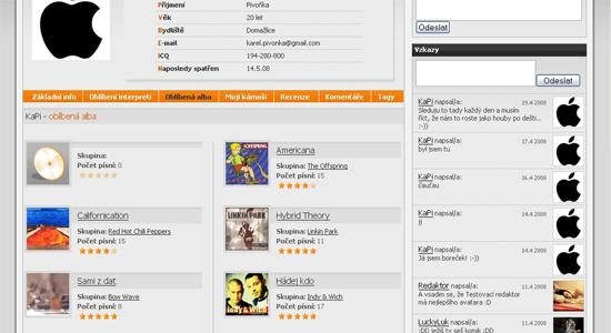 náhled bestmusic.cz - uživatelský profil
